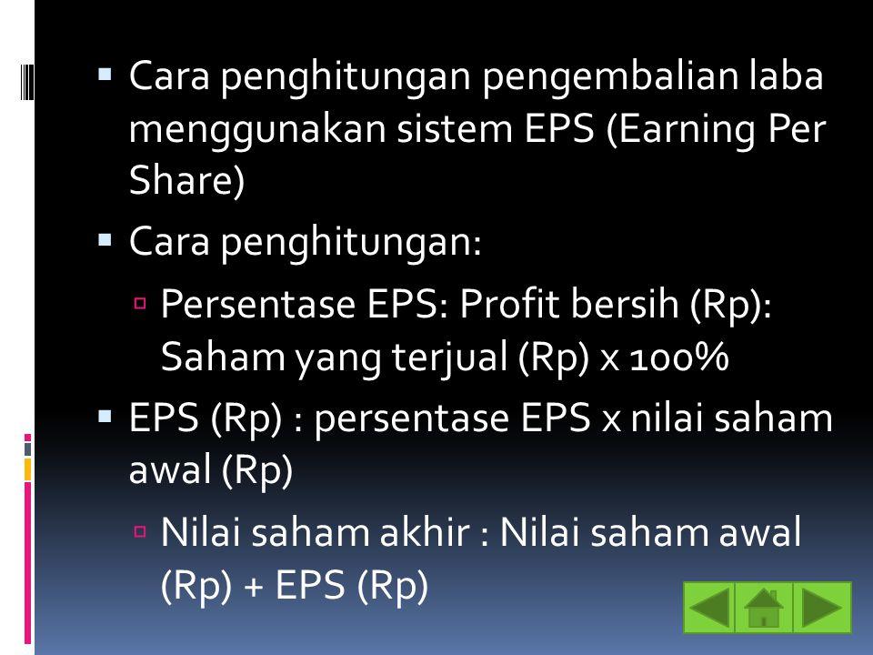  Cara penghitungan pengembalian laba menggunakan sistem EPS (Earning Per Share)  Cara penghitungan:  Persentase EPS: Profit bersih (Rp): Saham yang