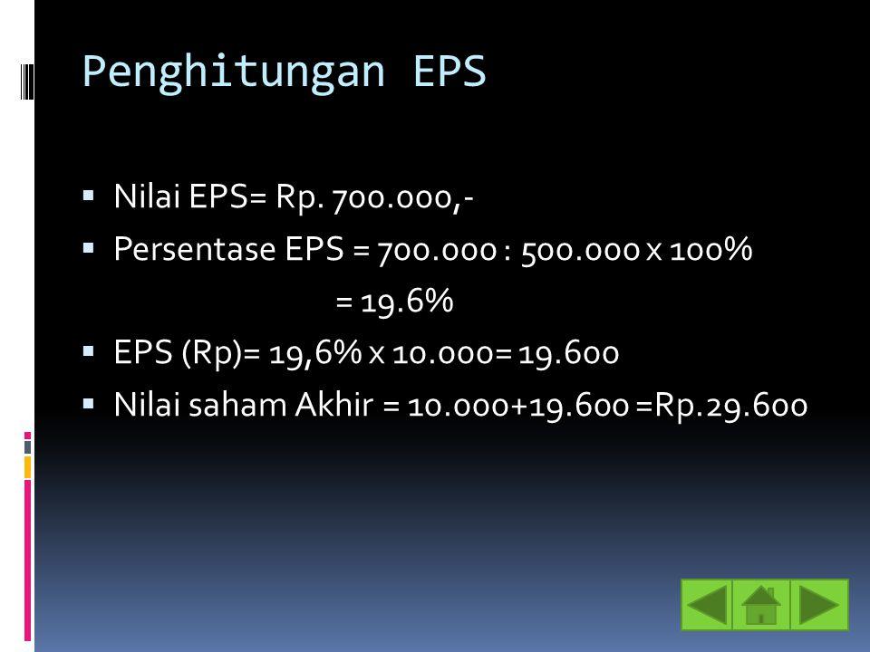 Penghitungan EPS  Nilai EPS= Rp. 700.000,-  Persentase EPS = 700.000 : 500.000 x 100% = 19.6%  EPS (Rp)= 19,6% x 10.000= 19.600  Nilai saham Akhir
