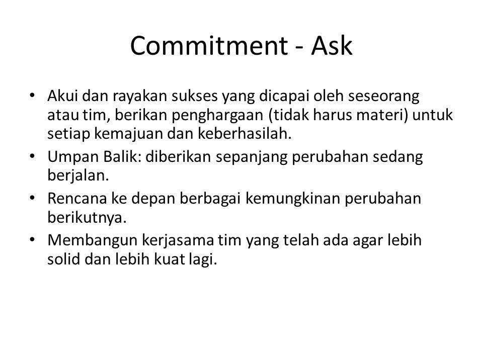 Commitment - Ask Akui dan rayakan sukses yang dicapai oleh seseorang atau tim, berikan penghargaan (tidak harus materi) untuk setiap kemajuan dan kebe