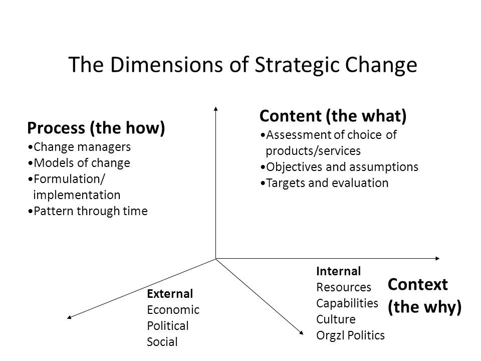 The Dimensions of Strategic Change External Economic Political Social Internal Resources Capabilities Culture Orgzl Politics Process (the how) Change