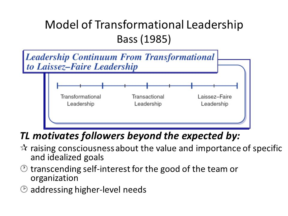 Model of Transformational Leadership Bass (1985) TL motivates followers beyond the expected by: ¶raising consciousness about the value and importance