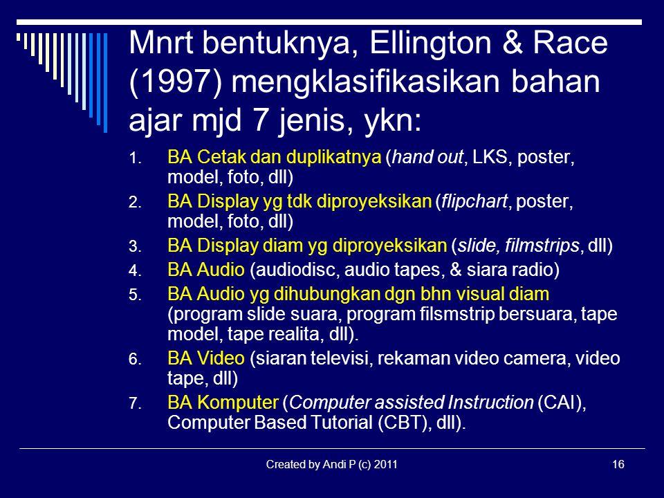 Created by Andi P (c) 201116 Mnrt bentuknya, Ellington & Race (1997) mengklasifikasikan bahan ajar mjd 7 jenis, ykn: 1. BA Cetak dan duplikatnya (hand