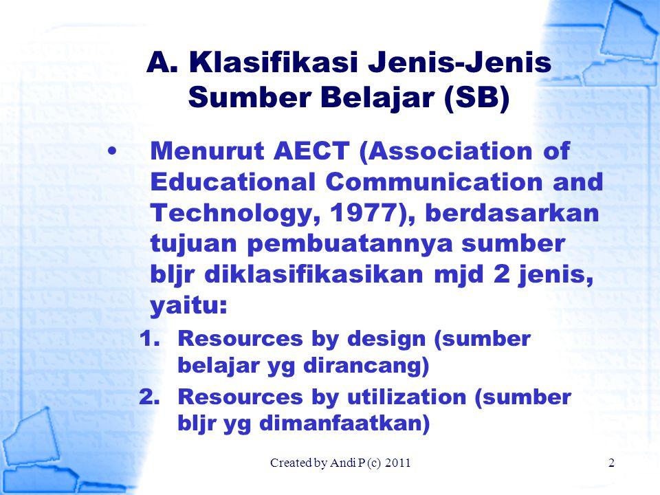 Created by Andi P (c) 20112 A. Klasifikasi Jenis-Jenis Sumber Belajar (SB) Menurut AECT (Association of Educational Communication and Technology, 1977