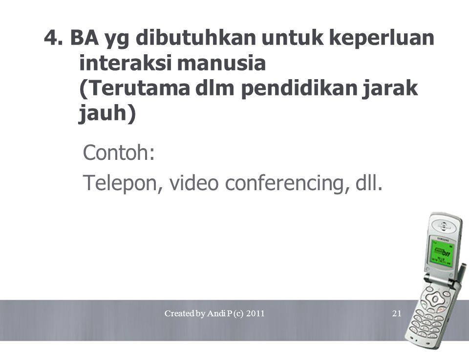 Created by Andi P (c) 201121 4. BA yg dibutuhkan untuk keperluan interaksi manusia (Terutama dlm pendidikan jarak jauh) Contoh: Telepon, video confere