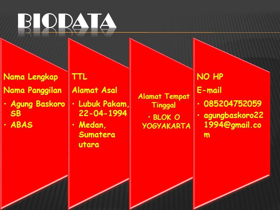 Nama Lengkap Nama Panggilan Agung Baskoro SB ABAS TTL Alamat Asal Lubuk Pakam, 22-04-1994 Medan, Sumatera utara Alamat Tempat Tinggal BLOK O YOGYAKARTA NO HP E-mail 085204752059 agungbaskoro22 1994@gmail.co m