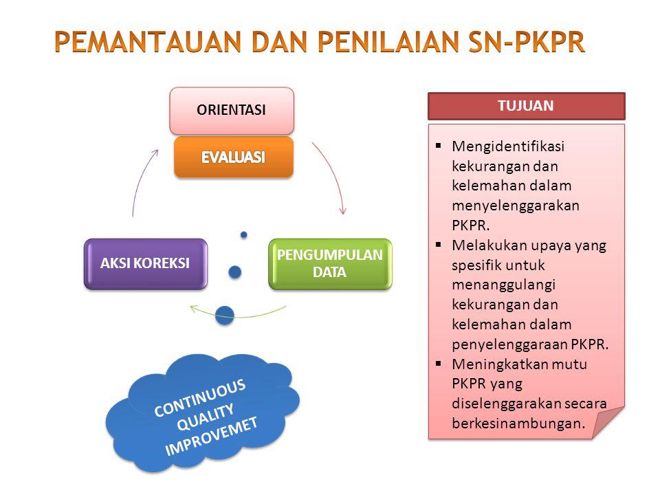 CONTINUOUS QUALITY IMPROVEMET  Mengidentifikasi kekurangan dan kelemahan dalam menyelenggarakan PKPR.  Melakukan upaya yang spesifik untuk menanggul