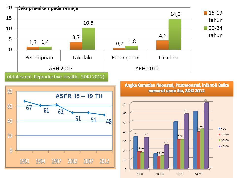 Seks pra-nikah pada remaja 3 (Adolescent Reproductive Health, SDKI 2012) ASFR 15 – 19 TH