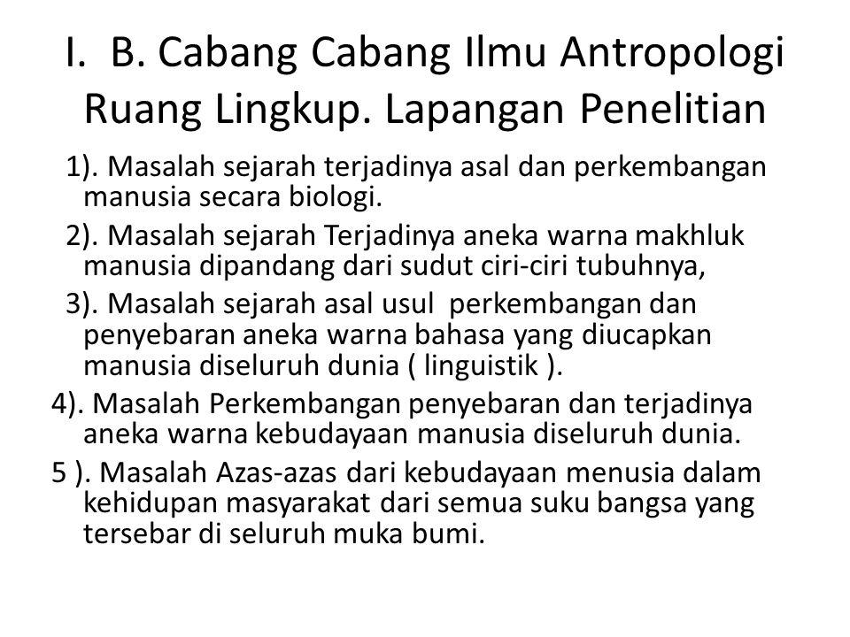 I. B. Cabang Cabang Ilmu Antropologi Ruang Lingkup. Lapangan Penelitian 1). Masalah sejarah terjadinya asal dan perkembangan manusia secara biologi. 2