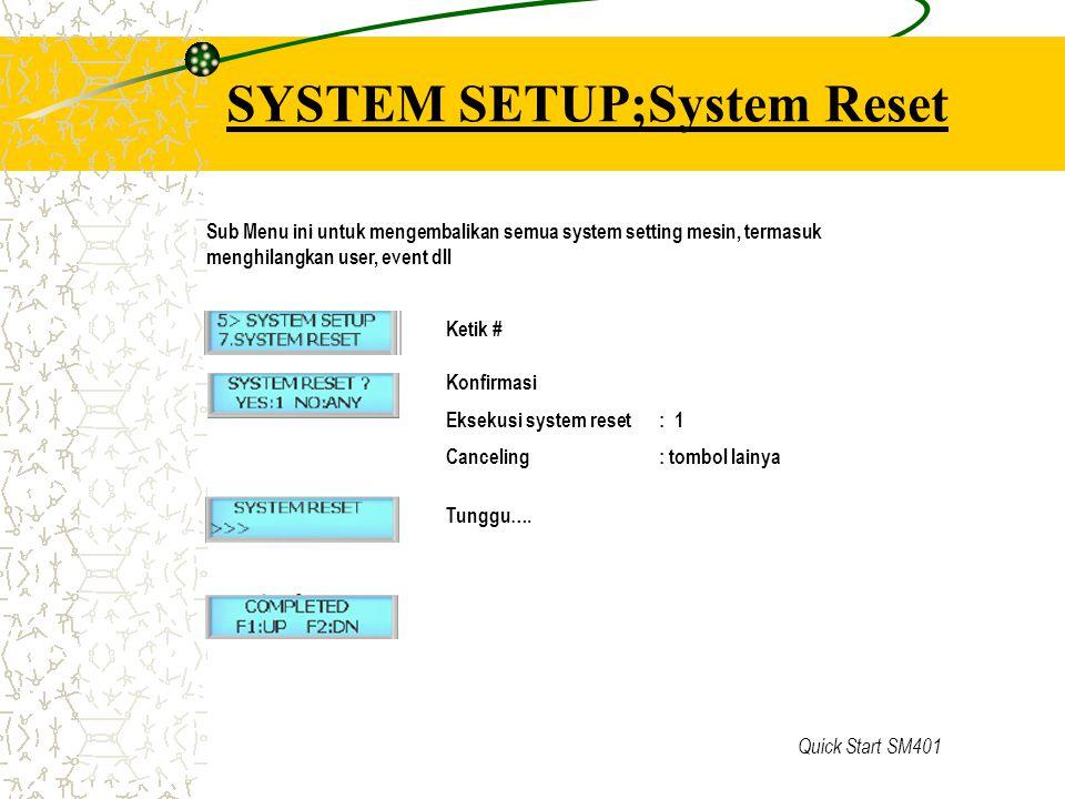 Quick Start SM401 SYSTEM SETUP;System Reset Ketik # Konfirmasi Eksekusi system reset : 1 Canceling: tombol lainya Tunggu…. Sub Menu ini untuk mengemba