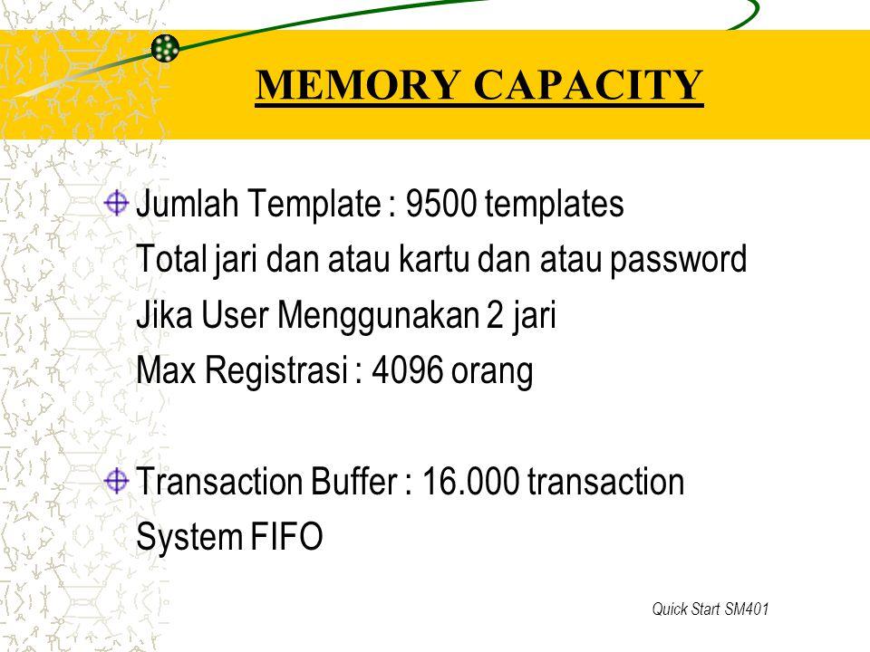 Quick Start SM401 MEMORY CAPACITY Jumlah Template : 9500 templates Total jari dan atau kartu dan atau password Jika User Menggunakan 2 jari Max Regist