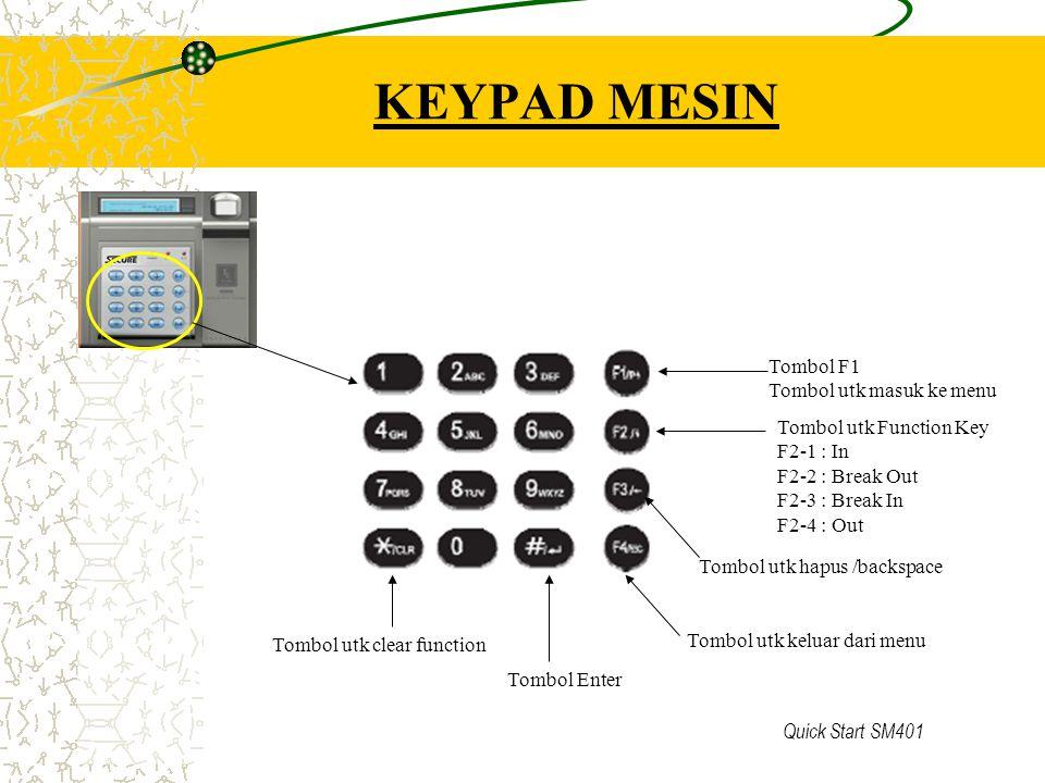 Quick Start SM401 ABSENSI HARIAN A.ABSEN ( Hanya Datang dan Pulang ) letakkan jari pada di atas sensor B.ABSEN DENGAN FUNGSI F2 1: Datang F22: Keluar istirahat F23: Masuk Istirahat F24: Pulang Cara melakukan absen : 1.Tekan tombol fungsi F2 2.Tekan tombol nomor 1 atau 2 atau 3 atau 4, sesuai dengan pilihan di atas 3.Letakkan Jari anda diatas sensor 4.Tunggu sampai dilayar tampil tulisan Nomor anda 5.Jika dilayar tampil tulisan 'Access Denied, maka ulangi kembali langkah nomor 1 – 5.
