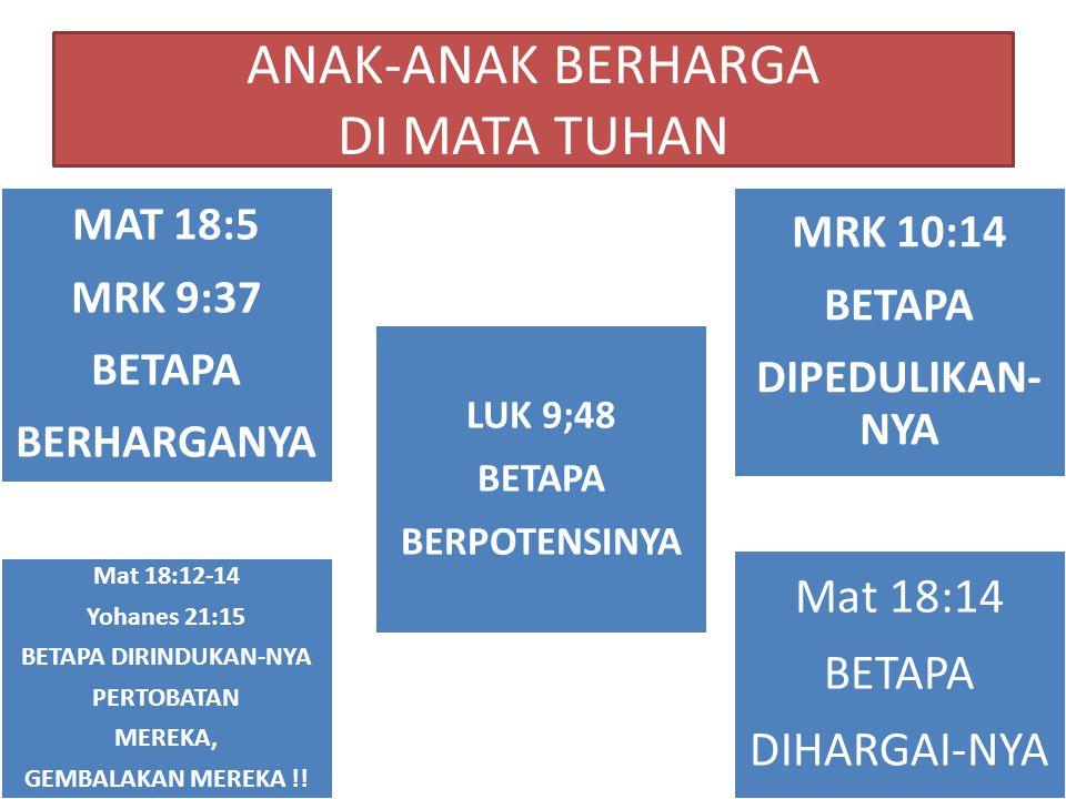 ANAK-ANAK BERHARGA DI MATA TUHAN MAT 18:5 MRK 9:37 BETAPA BERHARGANYA LUK 9;48 BETAPA BERPOTENSINYA MRK 10:14 BETAPA DIPEDULIKAN- NYA Mat 18:12-14 Yohanes 21:15 BETAPA DIRINDUKAN-NYA PERTOBATAN MEREKA, GEMBALAKAN MEREKA !.
