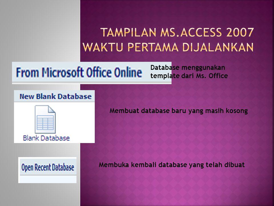 Database menggunakan template dari Ms.