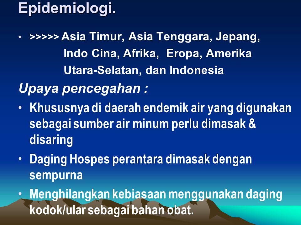 Epidemiologi. >>>>> Asia Timur, Asia Tenggara, Jepang, Indo Cina, Afrika, Eropa, Amerika Utara-Selatan, dan Indonesia Upaya pencegahan : Khususnya di