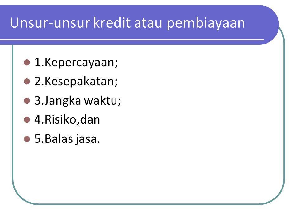 Unsur-unsur kredit atau pembiayaan 1.Kepercayaan; 2.Kesepakatan; 3.Jangka waktu; 4.Risiko,dan 5.Balas jasa.