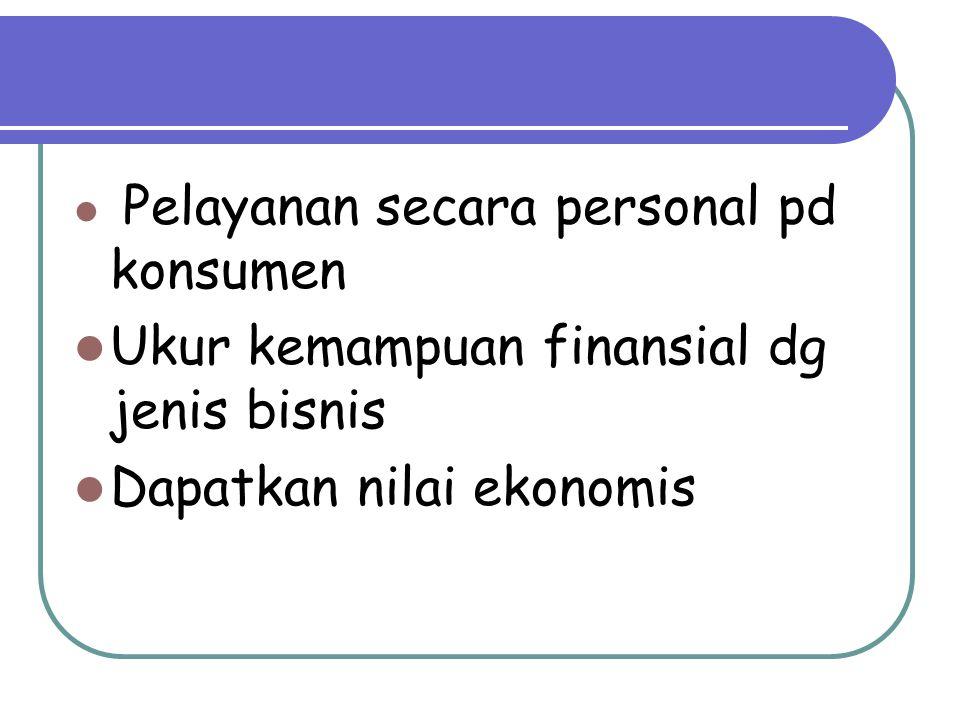 Pelayanan secara personal pd konsumen Ukur kemampuan finansial dg jenis bisnis Dapatkan nilai ekonomis