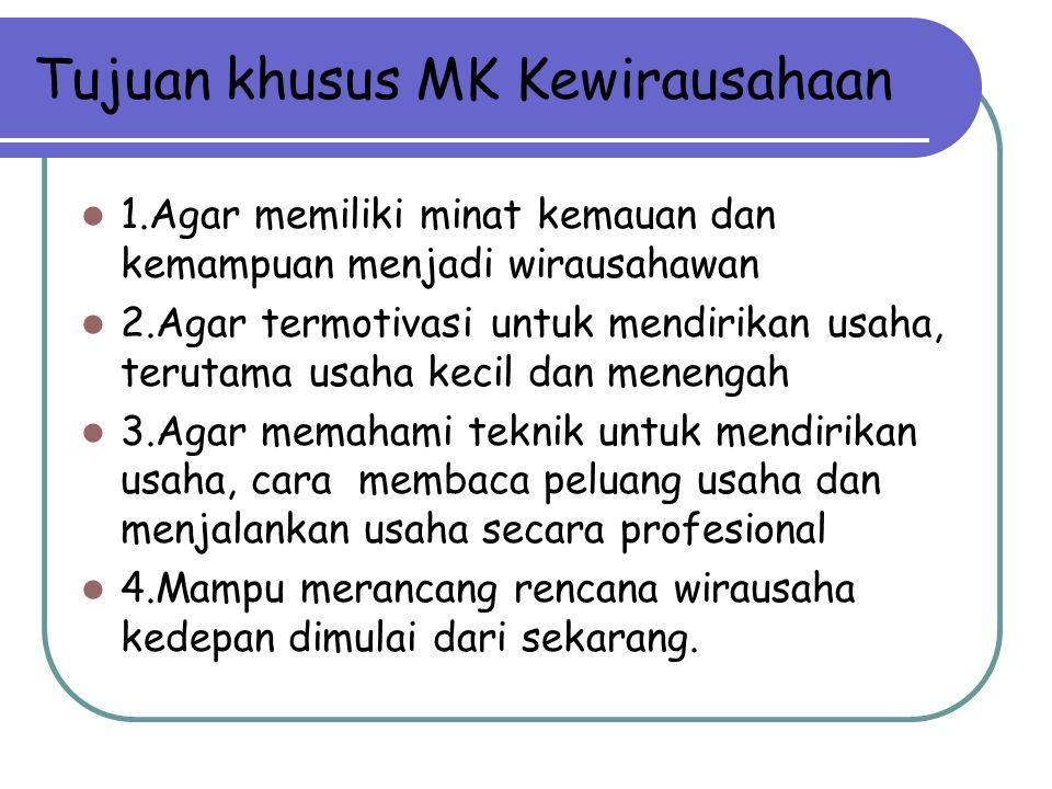 Tujuan khusus MK Kewirausahaan 1.Agar memiliki minat kemauan dan kemampuan menjadi wirausahawan 2.Agar termotivasi untuk mendirikan usaha, terutama us
