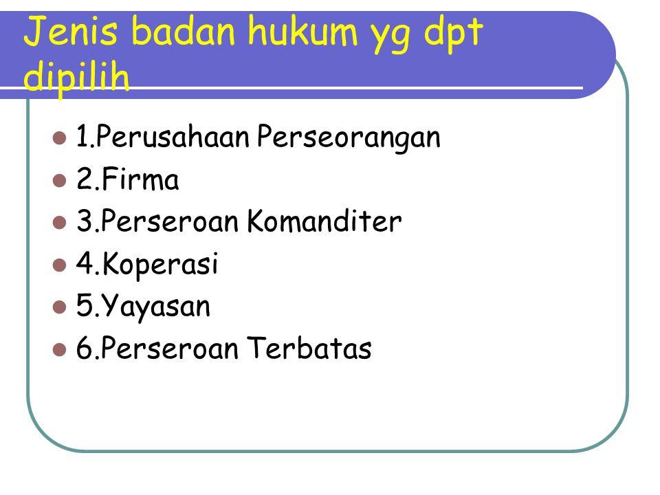 Jenis badan hukum yg dpt dipilih 1.Perusahaan Perseorangan 2.Firma 3.Perseroan Komanditer 4.Koperasi 5.Yayasan 6.Perseroan Terbatas