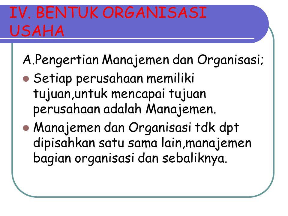 IV. BENTUK ORGANISASI USAHA A.Pengertian Manajemen dan Organisasi; Setiap perusahaan memiliki tujuan,untuk mencapai tujuan perusahaan adalah Manajemen
