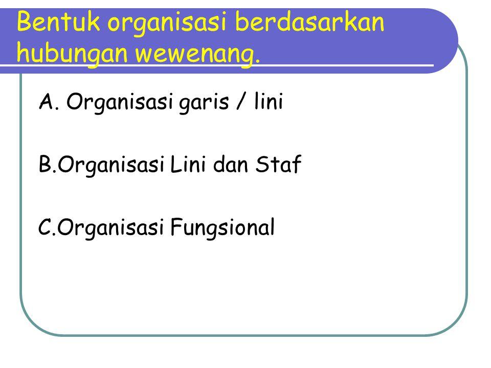 Bentuk organisasi berdasarkan hubungan wewenang. A. Organisasi garis / lini B.Organisasi Lini dan Staf C.Organisasi Fungsional
