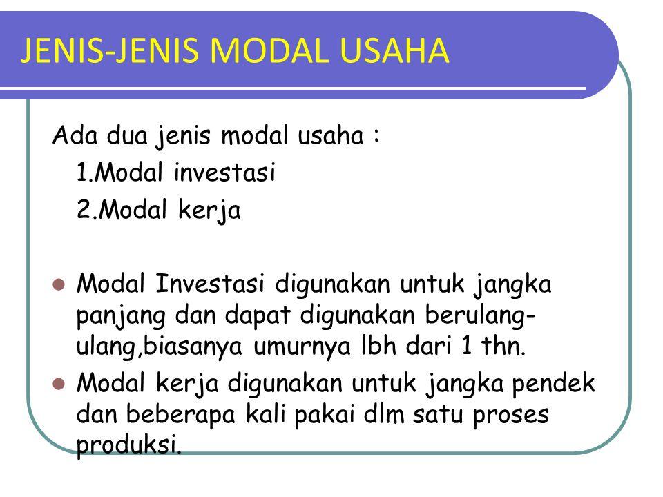 JENIS-JENIS MODAL USAHA Ada dua jenis modal usaha : 1.Modal investasi 2.Modal kerja Modal Investasi digunakan untuk jangka panjang dan dapat digunakan