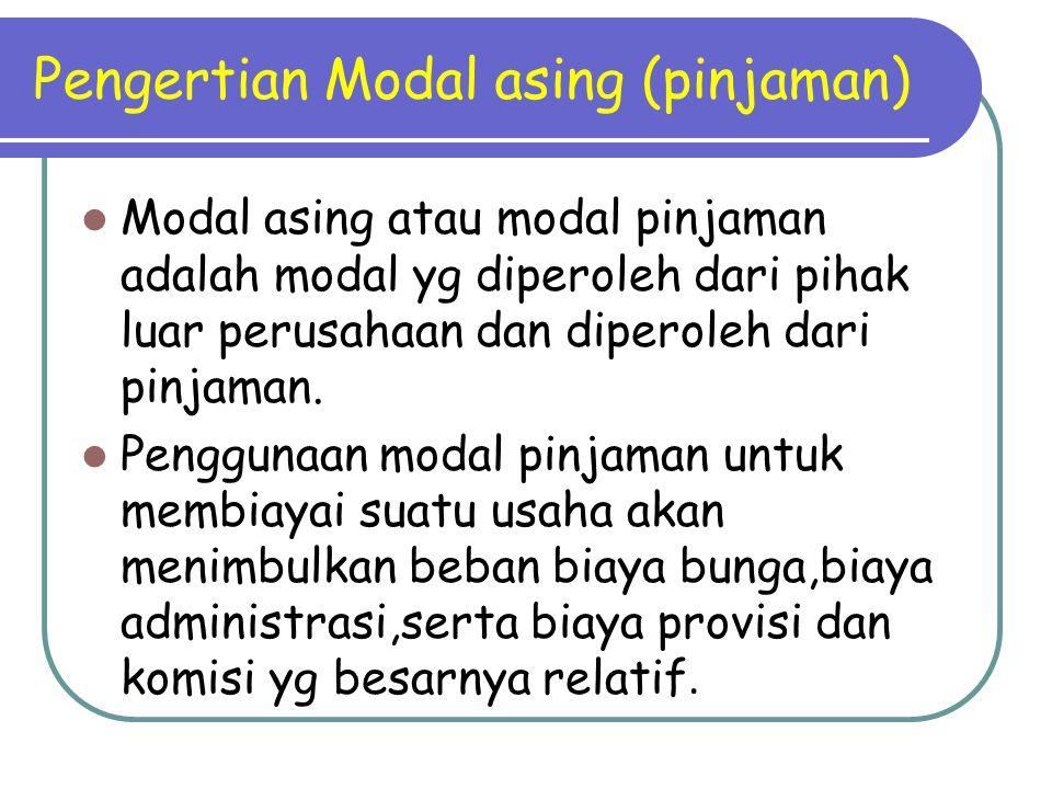 Pengertian Modal asing (pinjaman) Modal asing atau modal pinjaman adalah modal yg diperoleh dari pihak luar perusahaan dan diperoleh dari pinjaman. Pe