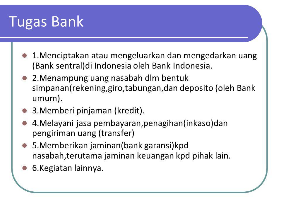 Tugas Bank 1.Menciptakan atau mengeluarkan dan mengedarkan uang (Bank sentral)di Indonesia oleh Bank Indonesia. 2.Menampung uang nasabah dlm bentuk si