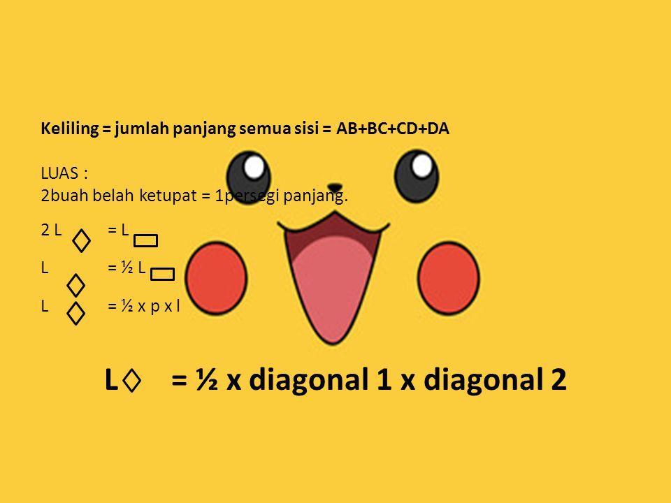 Keliling = jumlah panjang semua sisi = AB+BC+CD+DA LUAS : 2buah belah ketupat = 1persegi panjang. 2 L = L L= ½ L L= ½ x p x l L= ½ x diagonal 1 x diag