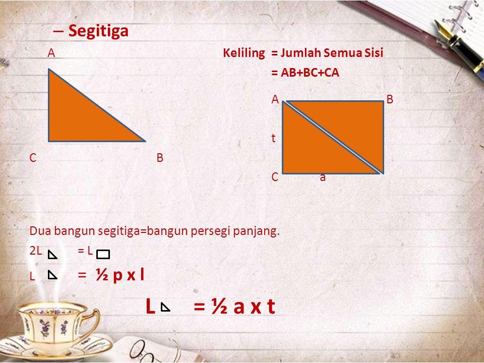 – Segitiga AKeliling = Jumlah Semua Sisi = AB+BC+CA A B t C B Ca Dua bangun segitiga=bangun persegi panjang. 2L = L L = ½ p x l L = ½ a x t