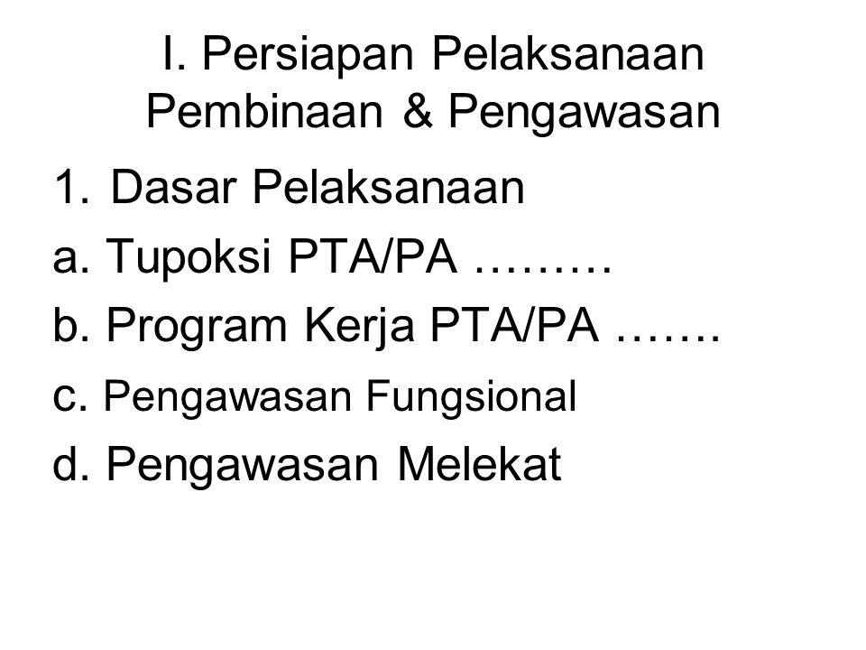 I. Persiapan Pelaksanaan Pembinaan & Pengawasan 1.Dasar Pelaksanaan a. Tupoksi PTA/PA ……… b. Program Kerja PTA/PA ……. c. Pengawasan Fungsional d. Peng