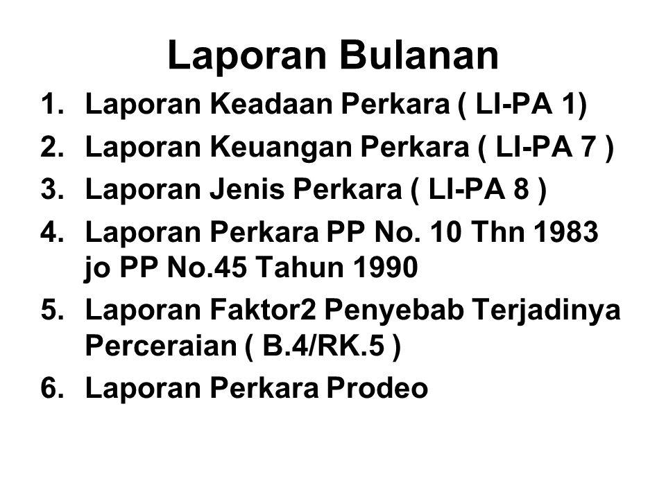Laporan Bulanan 1.Laporan Keadaan Perkara ( LI-PA 1) 2.Laporan Keuangan Perkara ( LI-PA 7 ) 3.Laporan Jenis Perkara ( LI-PA 8 ) 4.Laporan Perkara PP N