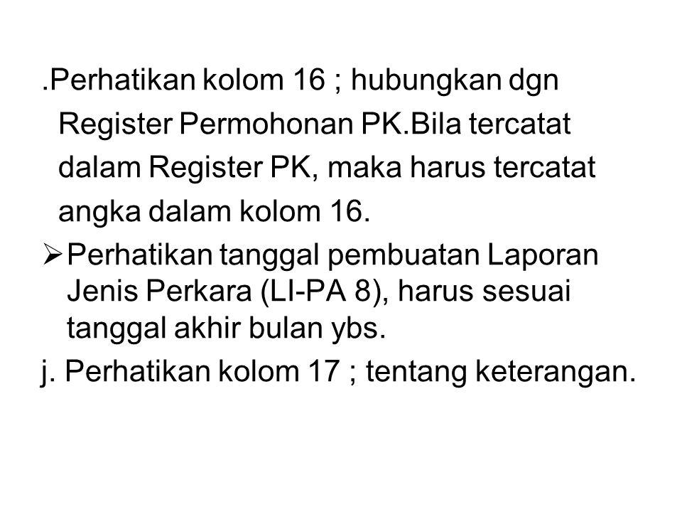 .Perhatikan kolom 16 ; hubungkan dgn Register Permohonan PK.Bila tercatat dalam Register PK, maka harus tercatat angka dalam kolom 16.  Perhatikan ta
