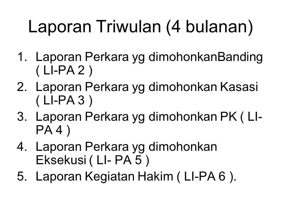 Laporan Triwulan (4 bulanan) 1.Laporan Perkara yg dimohonkanBanding ( LI-PA 2 ) 2.Laporan Perkara yg dimohonkan Kasasi ( LI-PA 3 ) 3.Laporan Perkara y
