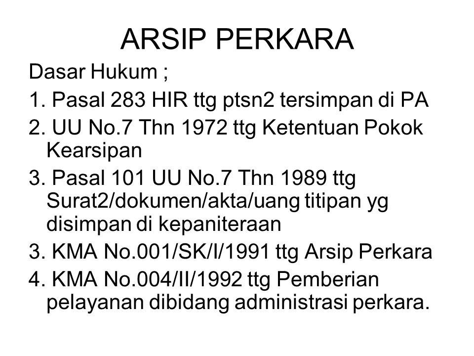 ARSIP PERKARA Dasar Hukum ; 1. Pasal 283 HIR ttg ptsn2 tersimpan di PA 2. UU No.7 Thn 1972 ttg Ketentuan Pokok Kearsipan 3. Pasal 101 UU No.7 Thn 1989