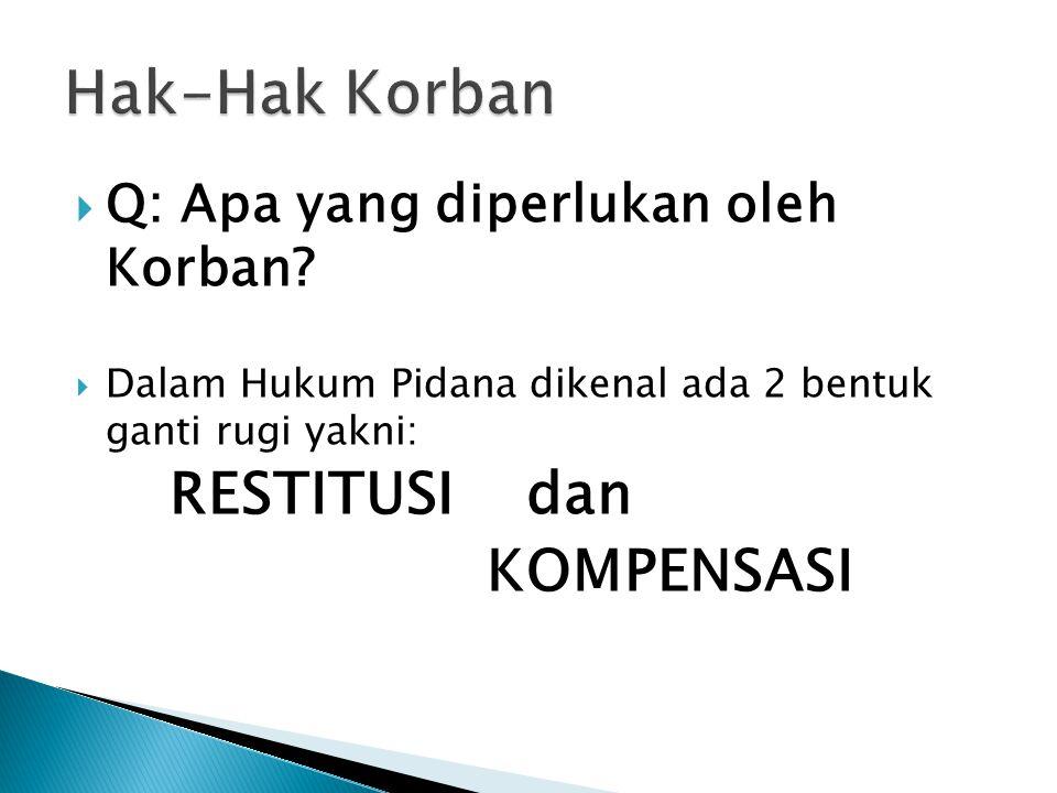  Q: Apa yang diperlukan oleh Korban?  Dalam Hukum Pidana dikenal ada 2 bentuk ganti rugi yakni: RESTITUSI dan KOMPENSASI