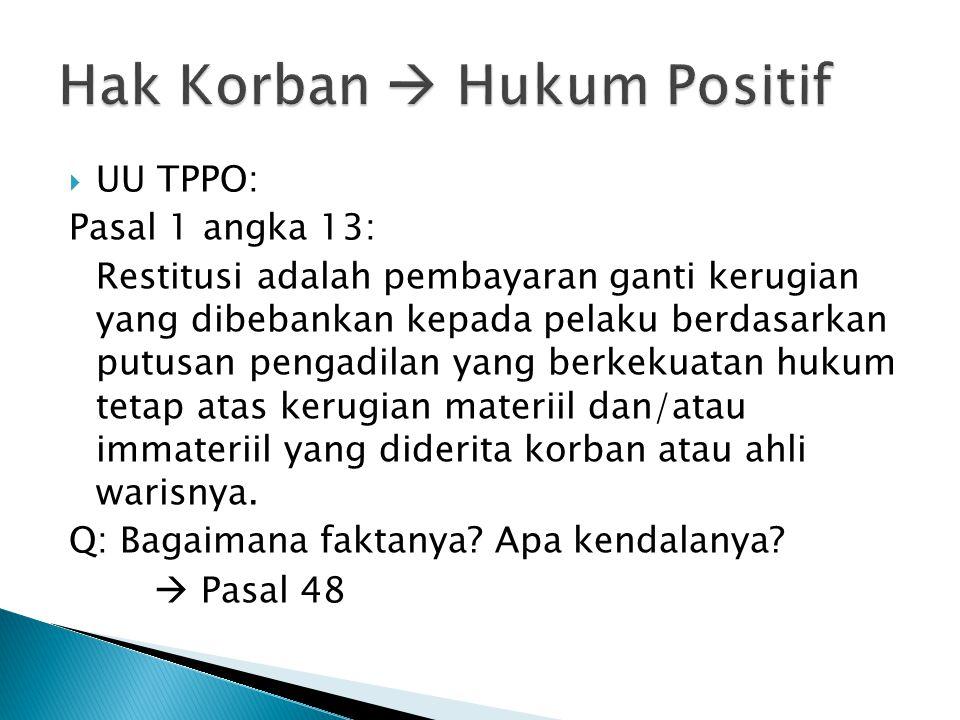  UU TPPO: Pasal 1 angka 13: Restitusi adalah pembayaran ganti kerugian yang dibebankan kepada pelaku berdasarkan putusan pengadilan yang berkekuatan