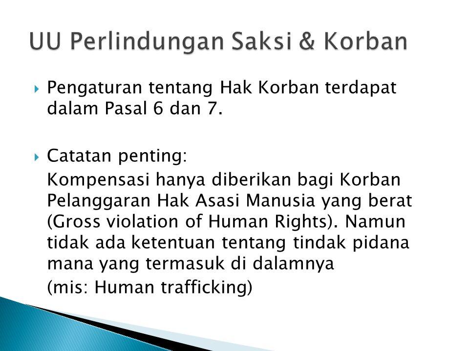  Pengaturan tentang Hak Korban terdapat dalam Pasal 6 dan 7.  Catatan penting: Kompensasi hanya diberikan bagi Korban Pelanggaran Hak Asasi Manusia