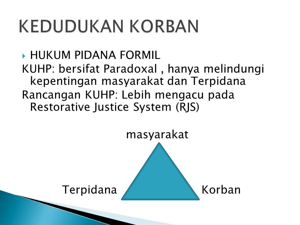  HUKUM PIDANA FORMIL KUHP: bersifat Paradoxal, hanya melindungi kepentingan masyarakat dan Terpidana Rancangan KUHP: Lebih mengacu pada Restorative J