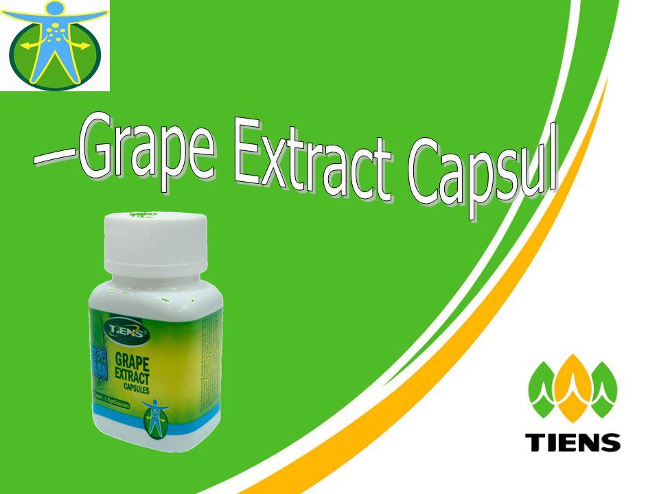 Khasiat Grape Extract Capsules 1.Menurunkan viskositas darah, mencegah penyakit aterosklerosis, memperbaiki penyakit pembuluh darah jantung.