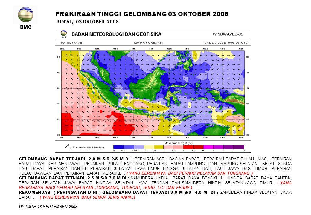 BMG JUM'AT, 03 OKTOBER 2008 PRAKIRAAN TINGGI GELOMBANG 03 OKTOBER 2008 GELOMBANG DAPAT TERJADI 2,0 M S/D 2,5 M DI : PERAIRAN ACEH BAGIAN BARAT, PERAIRAN BARAT PULAU NIAS, PERAIRAN BARAT DAYA KEP.