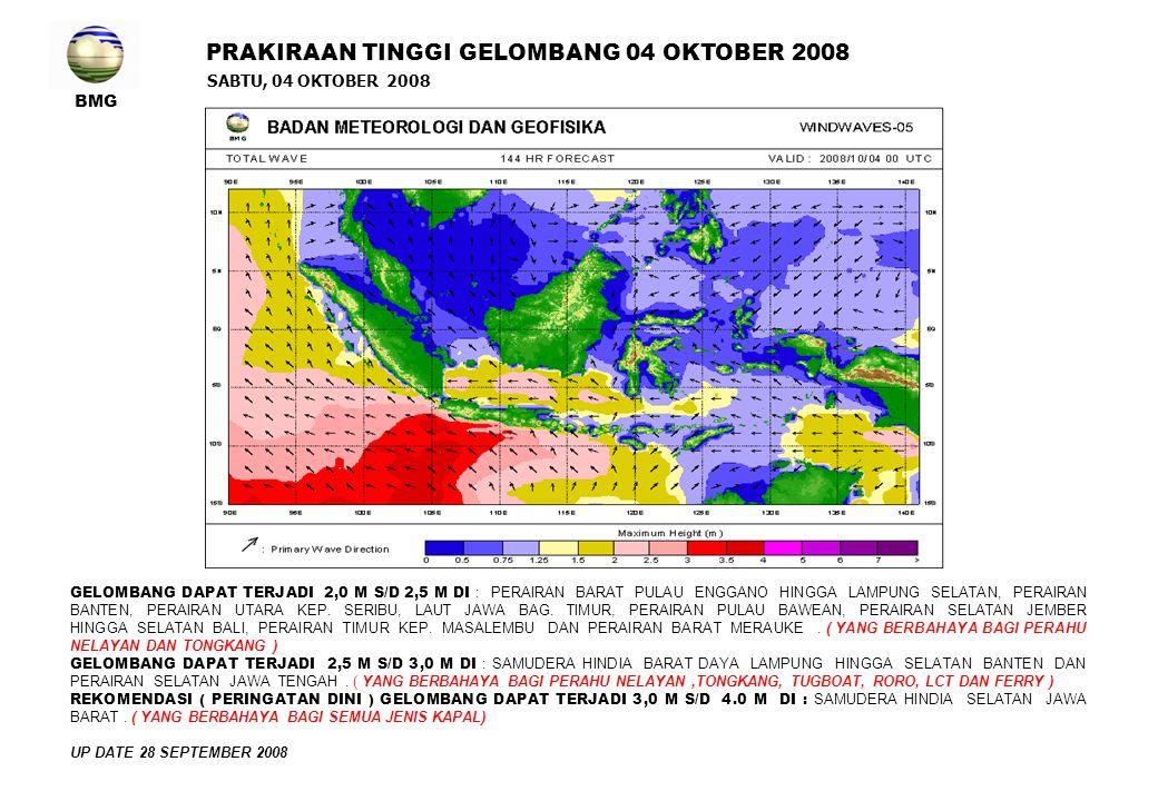 BMG SABTU, 04 OKTOBER 2008 PRAKIRAAN TINGGI GELOMBANG 04 OKTOBER 2008 GELOMBANG DAPAT TERJADI 2,0 M S/D 2,5 M DI : PERAIRAN BARAT PULAU ENGGANO HINGGA LAMPUNG SELATAN, PERAIRAN BANTEN, PERAIRAN UTARA KEP.