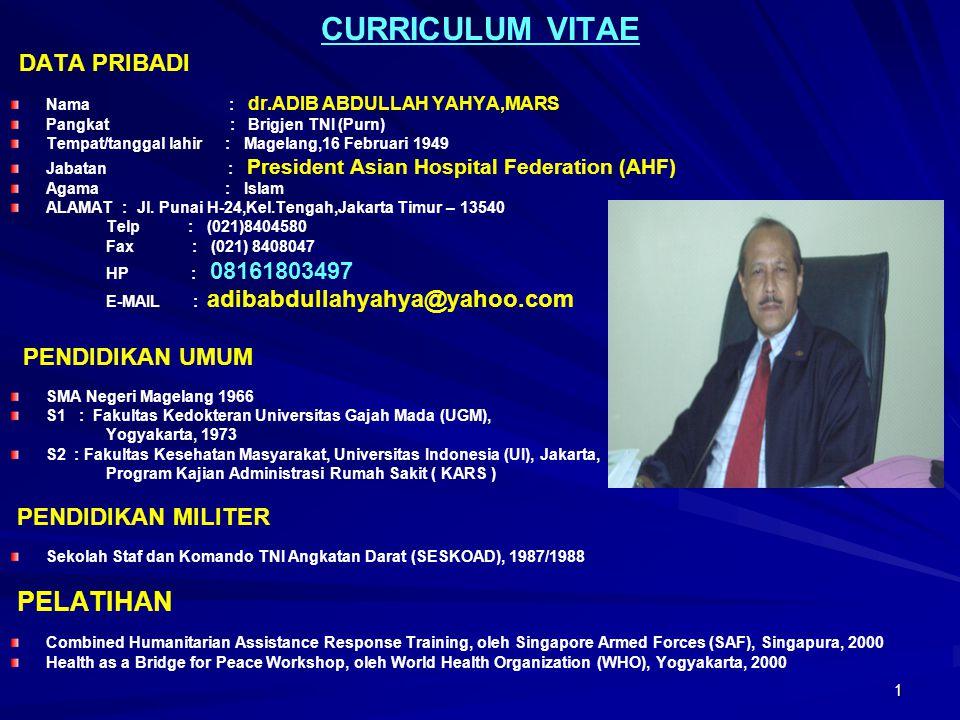 1 CURRICULUM VITAE DATA PRIBADI Nama : dr.ADIB ABDULLAH YAHYA,MARS Pangkat : Brigjen TNI (Purn) Tempat/tanggal lahir : Magelang,16 Februari 1949 Jabat