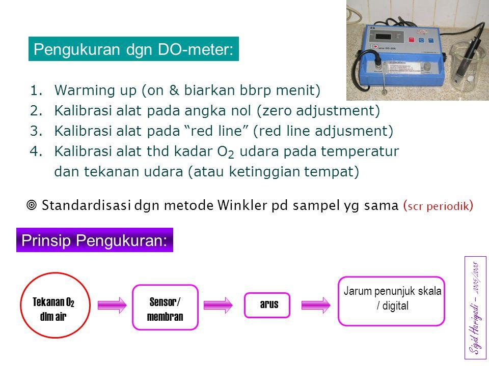 "Pengukuran dgn DO-meter: 1.Warming up (on & biarkan bbrp menit) 2.Kalibrasi alat pada angka nol (zero adjustment) 3.Kalibrasi alat pada ""red line"" (re"