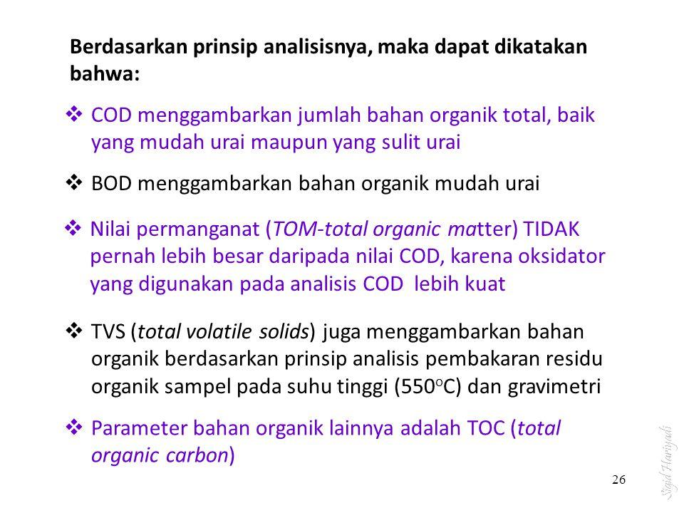  COD menggambarkan jumlah bahan organik total, baik yang mudah urai maupun yang sulit urai Berdasarkan prinsip analisisnya, maka dapat dikatakan bahw