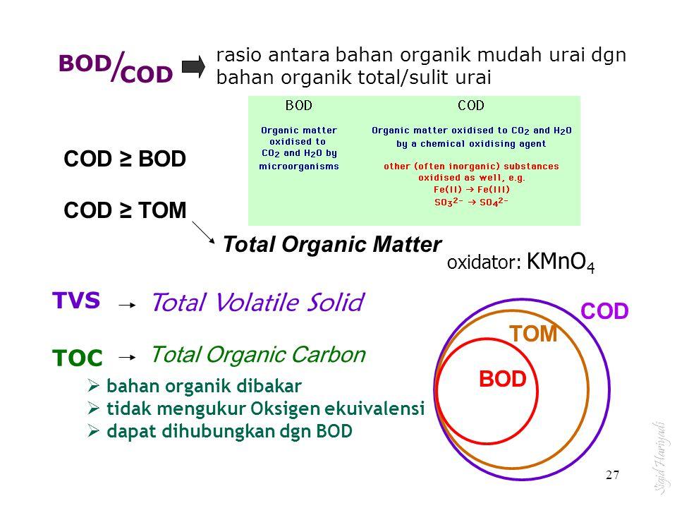 BOD COD / rasio antara bahan organik mudah urai dgn bahan organik total/sulit urai COD ≥ BOD COD ≥ TOM Total Organic Matter oxidator: KMnO 4 TVS Total