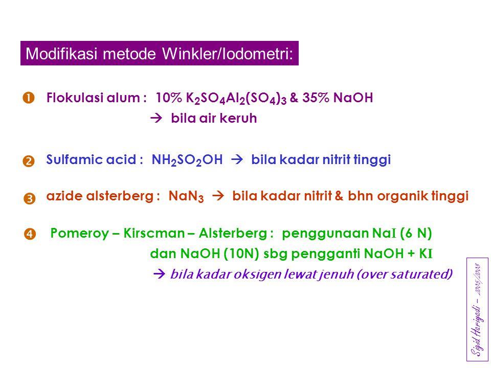 BOD (Biochemical Oxygen Demand): BOD 3  inkubasi pada 30 o C selama 3 hari  Jenis dan jumlah bahan organik terlarut & tersuspensi (koloid)  Jenis dan jumlah (komposisi) mikroorganisme pengurai  kecukupan oksigen Nilai BOD :  upayakan nilai DO 5(end) sekitar 1 mg/L  sebaiknya selisih DO berkisar 5 – 7 mg/L  mengubah pH, seluruh aktivitas ionik  mengubah aktivitas organik  mengubah salinitas lingkungan fisik- kimia- biologi air sampel Pengenceran: Sigid Hariyadi – 2005/2007 (Tropik)