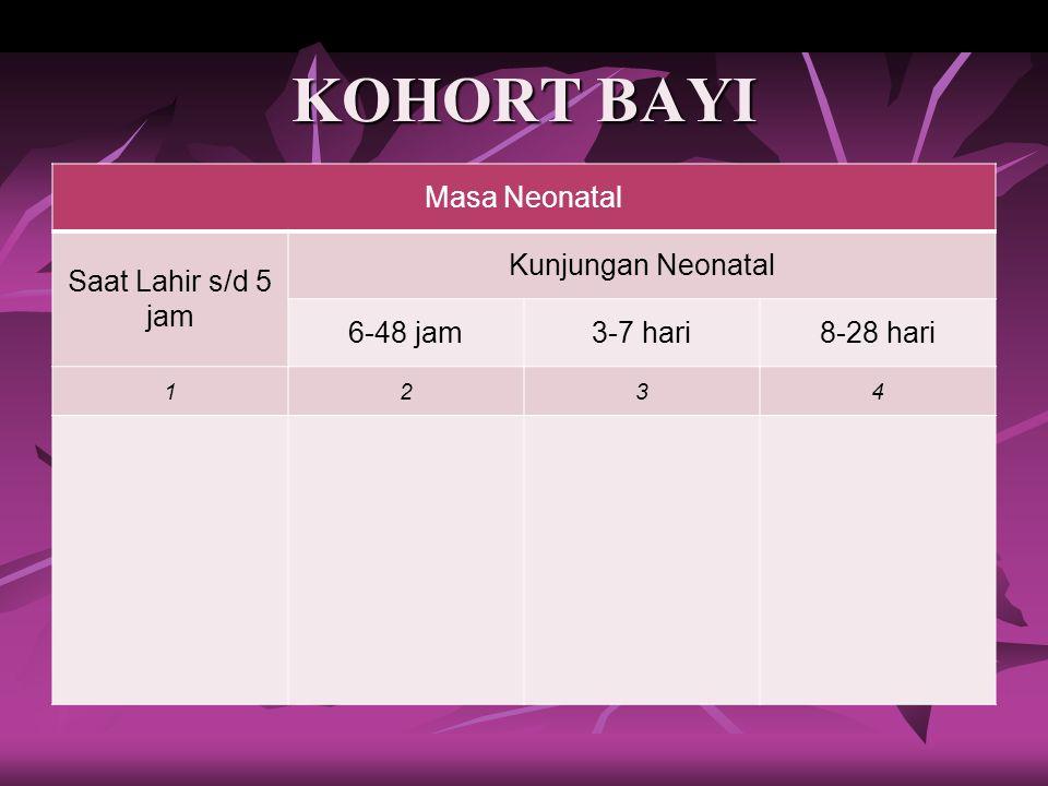 KOHORT BAYI Masa Neonatal Saat Lahir s/d 5 jam Kunjungan Neonatal 6-48 jam3-7 hari8-28 hari 1234