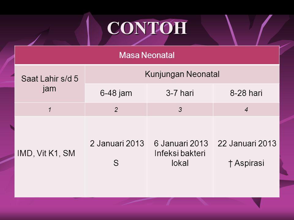 CONTOH Masa Neonatal Saat Lahir s/d 5 jam Kunjungan Neonatal 6-48 jam3-7 hari8-28 hari 1234 IMD, Vit K1, SM 2 Januari 2013 S 6 Januari 2013 Infeksi ba