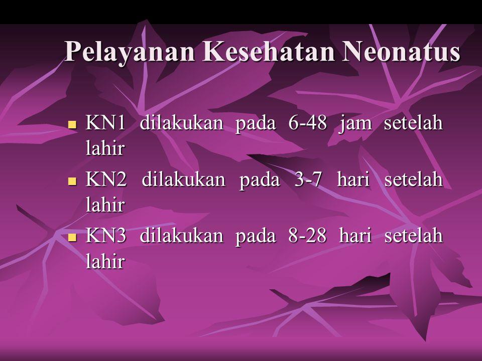 Pelayanan Kesehatan Neonatus KN1 dilakukan pada 6-48 jam setelah lahir KN1 dilakukan pada 6-48 jam setelah lahir KN2 dilakukan pada 3-7 hari setelah lahir KN2 dilakukan pada 3-7 hari setelah lahir KN3 dilakukan pada 8-28 hari setelah lahir KN3 dilakukan pada 8-28 hari setelah lahir