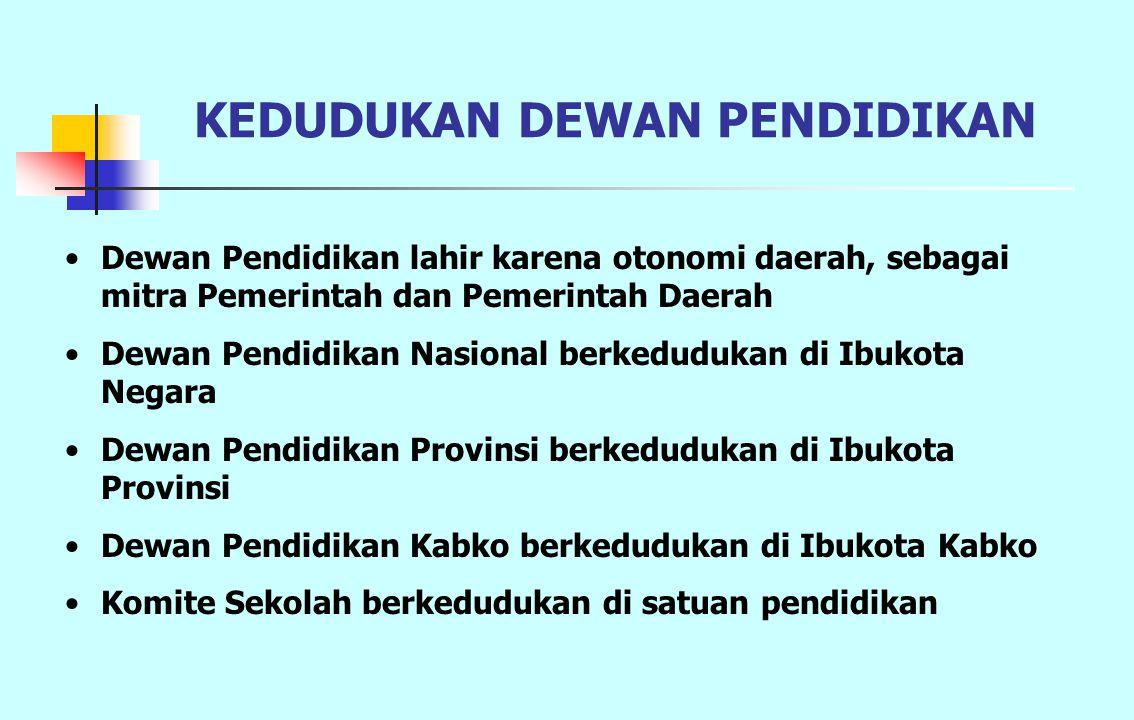 KEDUDUKAN DEWAN PENDIDIKAN Dewan Pendidikan lahir karena otonomi daerah, sebagai mitra Pemerintah dan Pemerintah Daerah Dewan Pendidikan Nasional berk